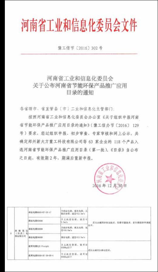 河南省工业节能产品认定
